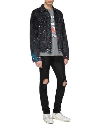 Figure View - Click To Enlarge - Amiri - 'Graffiti' paint splatter denim trucker jacket