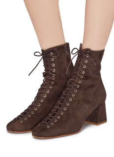 BY FAR 'Becca' lace-up suede ankle boots