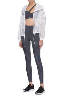 Alo Yoga 'Stitch' mesh panel oversized seersucker jacket