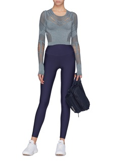 Alo Yoga 'Siren' perforated cropped performance long sleeve top