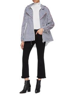 Valentino 'Optical Valentino' print chevron stripe hooded pea jacket