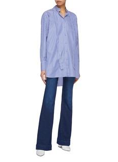Valentino Sash Mandarin collar stripe shirt