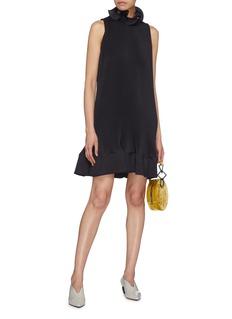Tibi Tie back ruffle pleated sleeveless peplum dress
