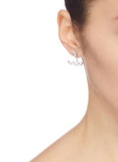 HEFANG 'Lace' cubic zirconia silver detachable drop earrings