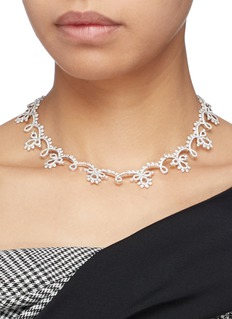 HEFANG 'Classical Lace' cubic zirconia silver necklace