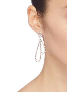 HEFANG 'Feather' cubic zirconia silver drop earrings