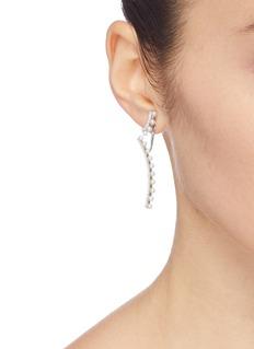 HEFANG 'Ripple' freshwater pearl cubic zirconia silver detachable drop earrings