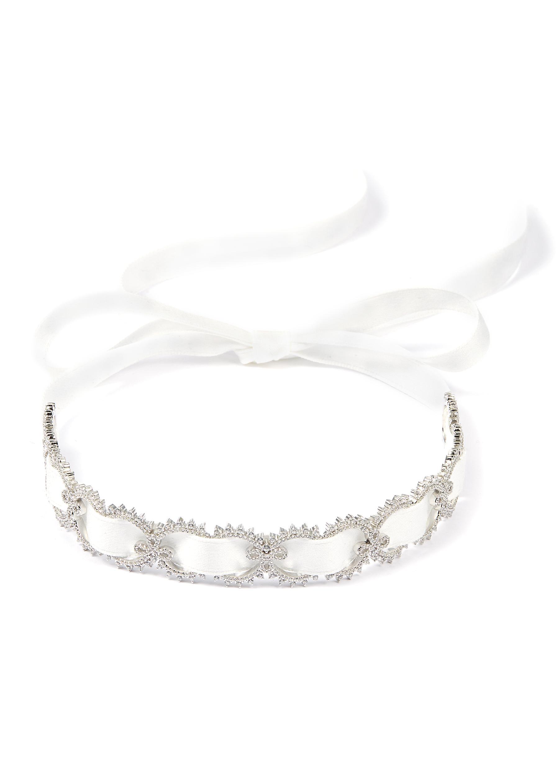HEFANG.  Lace  cubic zirconia silver ribbon tie choker 0960f354b4