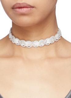 HEFANG 'Lace' cubic zirconia silver ribbon tie choker