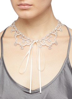 HEFANG 'Court Lace' cubic zirconia silver necklace