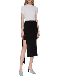 JACQUEMUS Knot sash asymmetric overlay knit mini skirt