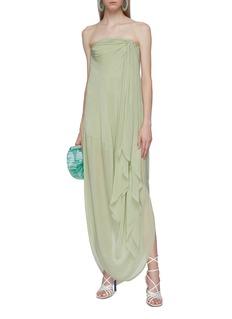JACQUEMUS Gathered drape strapless dress