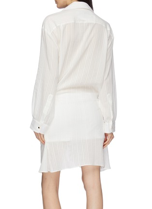 Back View - Click To Enlarge - JACQUEMUS - Knot front drape stripe V-neck shirt dress