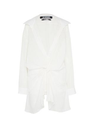 Main View - Click To Enlarge - JACQUEMUS - Knot front drape stripe V-neck shirt dress
