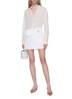 JACQUEMUS Folded waistband denim mini skirt