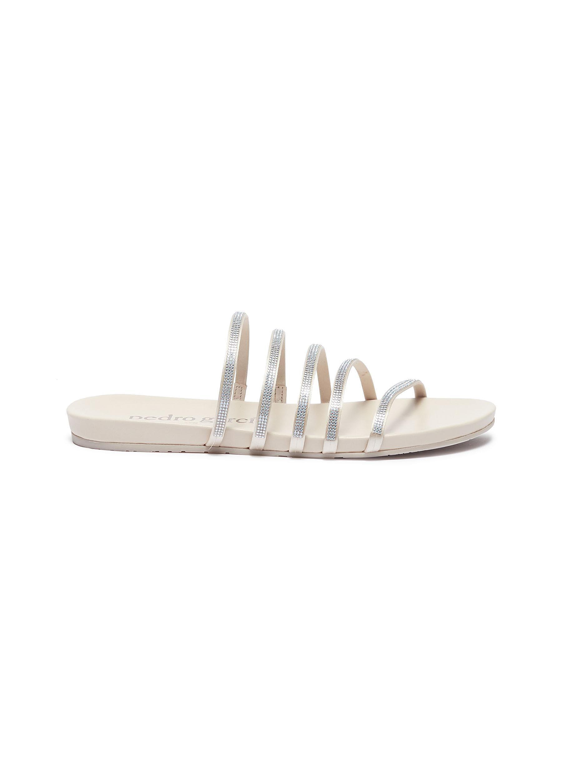 Pedro García Flats Gala Swarovski crystal strappy satin sandals