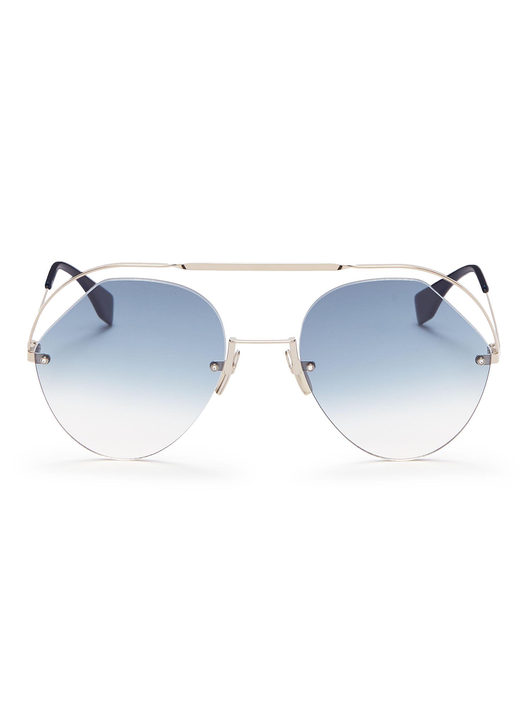 354ca52210 Fendi. Metal browbar rimless angular aviator sunglasses