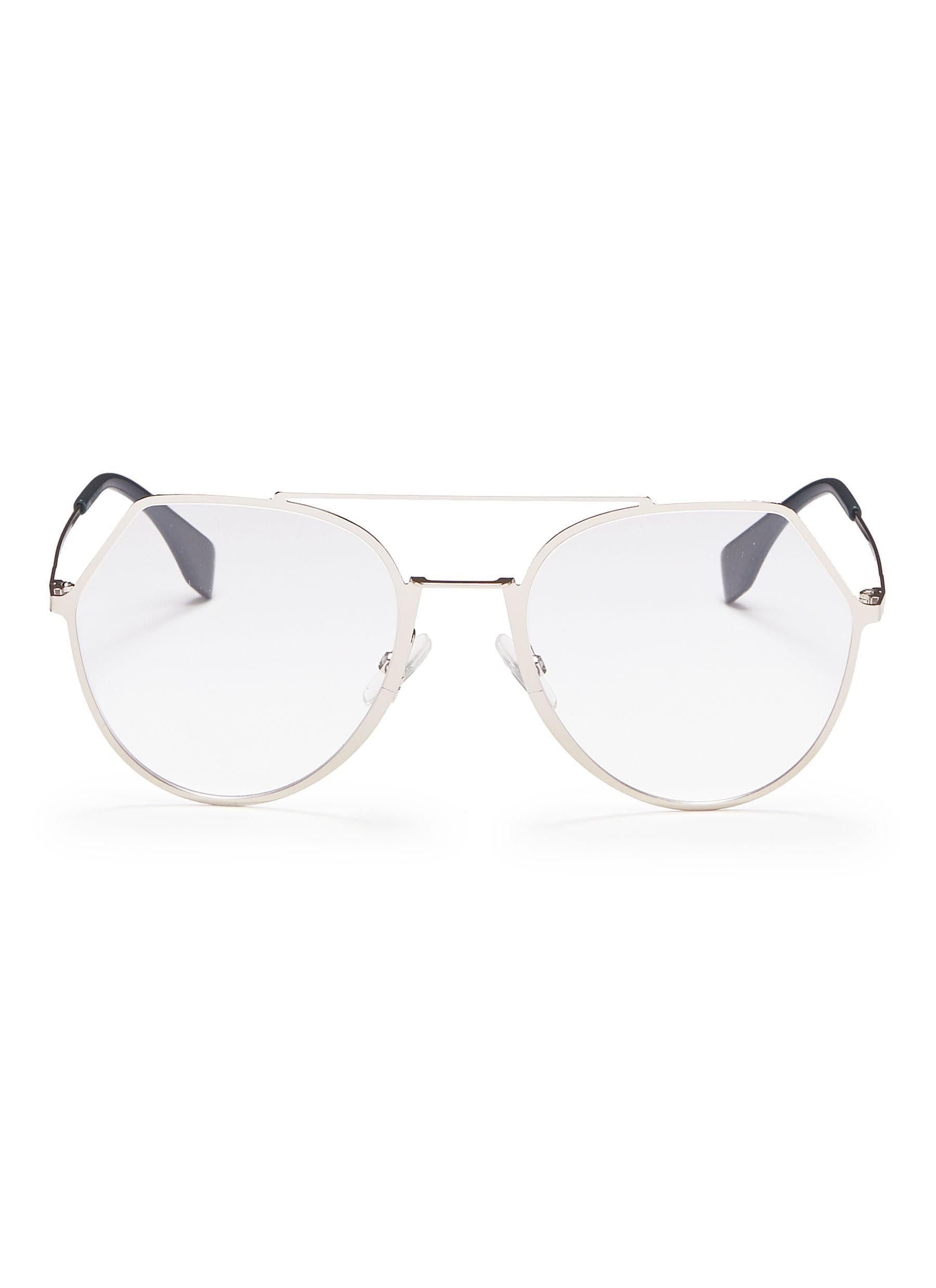 d7820dfcc2 Main View - Click To Enlarge - Fendi - Metal angular aviator optical glasses