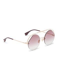 Fendi Metal browbar rimless angular aviator sunglasses
