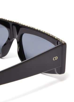 Detail View - Click To Enlarge - DIOR - 'Dior Power' strass topline acetate square sunglasses