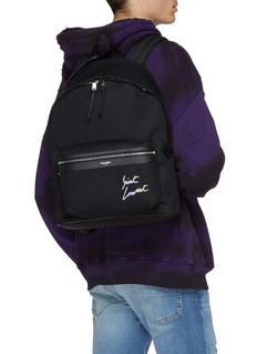 SAINT LAURENT Logo embroidered canvas backpack