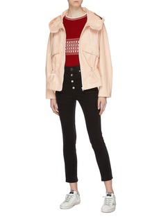 Yves Salomon Paper-effect leather hooded jacket