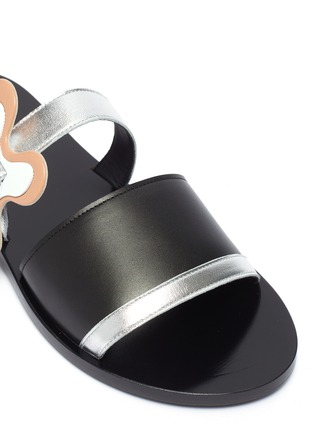Detail View - Click To Enlarge - Pierre Hardy - 'Bloom' floral buckle colourblock leather slide sandals