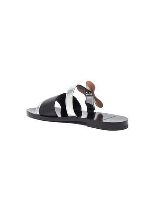 - Pierre Hardy - 'Bloom' floral buckle colourblock leather slide sandals