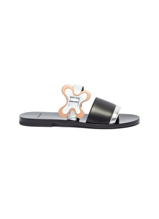 Main View - Click To Enlarge - Pierre Hardy - 'Bloom' floral buckle colourblock leather slide sandals