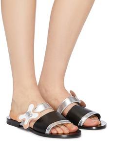 Pierre Hardy 'Bloom' floral buckle colourblock leather slide sandals