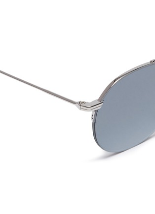 Detail View - Click To Enlarge - THOM BROWNE - Browbar mirror metal round sunglasses
