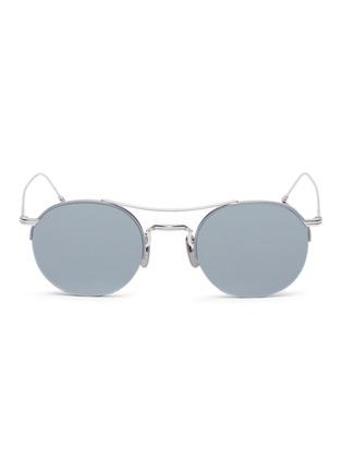 Main View - Click To Enlarge - THOM BROWNE - Browbar mirror metal round sunglasses