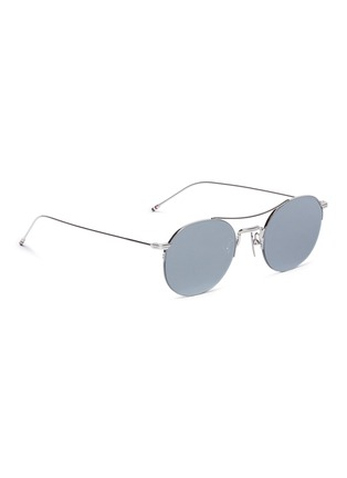 Figure View - Click To Enlarge - THOM BROWNE - Browbar mirror metal round sunglasses