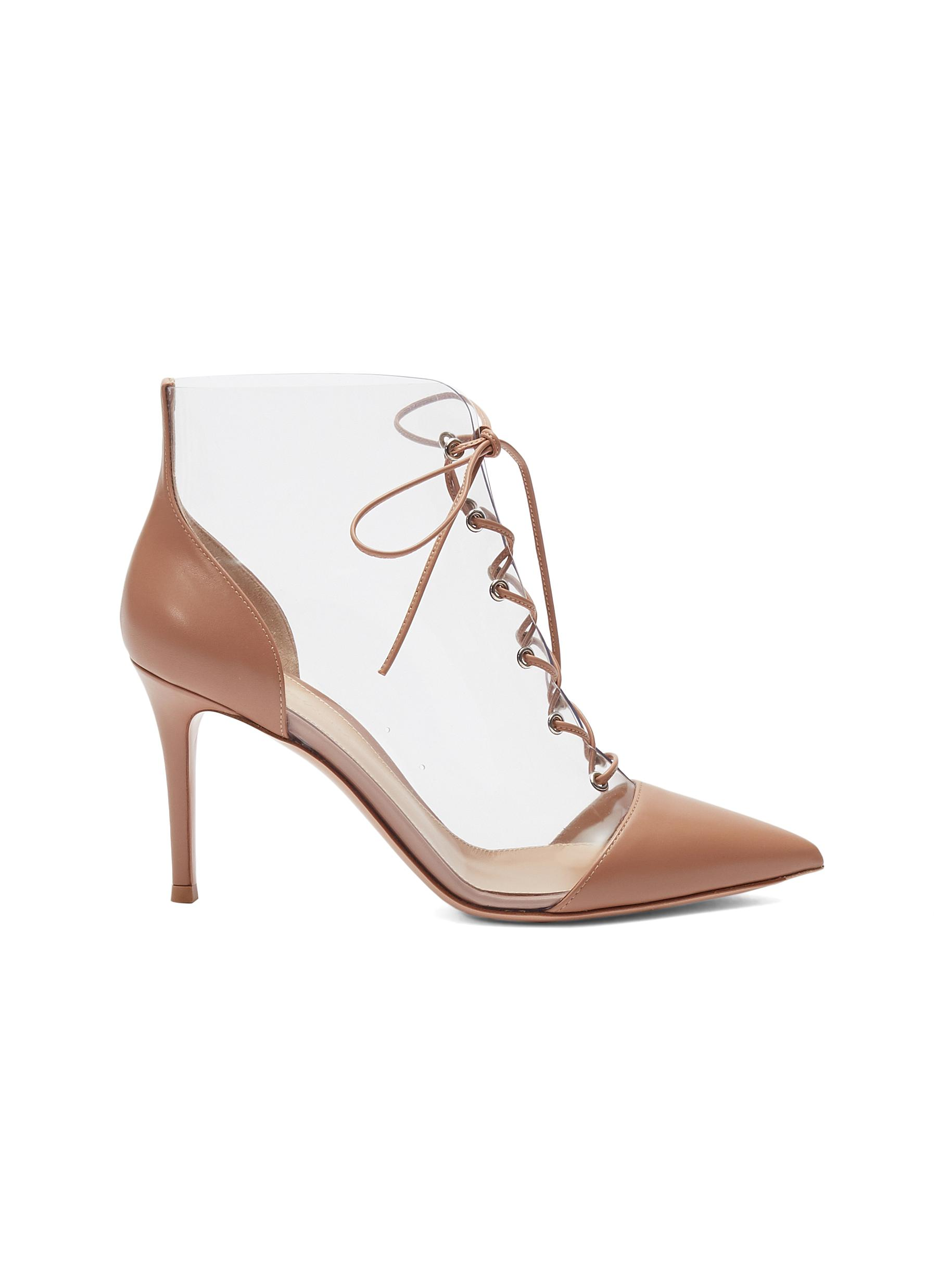 5bcd1a6b001 Gianvito Rossi.  Icon  lace-up clear PVC leather ankle boots