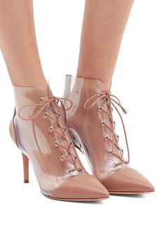 Gianvito Rossi 'Icon' lace-up clear PVC leather ankle boots