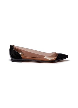 Main View - Click To Enlarge - Gianvito Rossi - 'Plexi' clear PVC patent leather flats
