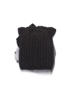 Eugenia Kim 'Felix' beaded veil cat ear wool knit beanie