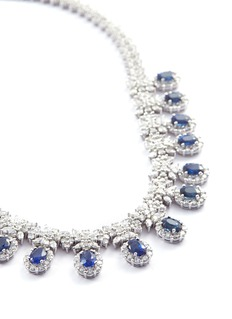 LC Collection Jewellery Diamond sapphire 18k white gold necklace