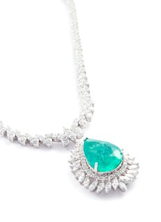 LC Collection Jewellery Diamond emerald 18k white gold pendant necklace