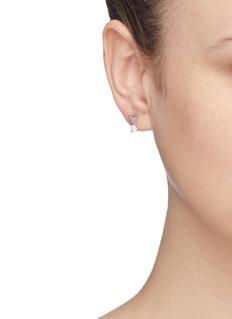 CZ by Kenneth Jay Lane Freshwater pearl cubic zirconia mismatched geometric drop earrings