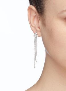 CZ by Kenneth Jay Lane Cubic zirconia triangle stud fringe drop earrings