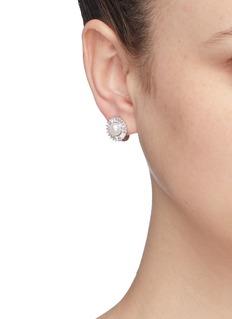 CZ by Kenneth Jay Lane Freshwater pearl cubic zirconia stud earrings