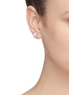 CZ by Kenneth Jay Lane Cubic zirconia glass pearl detachable ear jacket stud earrings