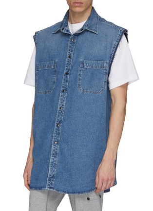 Detail View - Click To Enlarge - BALENCIAGA - 'Twinset' two-in-one denim vest and patchwork hoodie