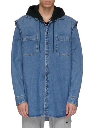 Main View - Click To Enlarge - BALENCIAGA - 'Twinset' two-in-one denim vest and patchwork hoodie