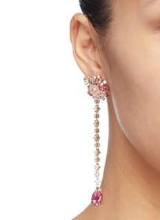 Anabela Chan 'Paradise' diamond gemstone floral drop earrings