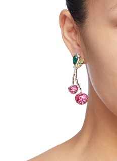 Anabela Chan 'Cherry' diamond gemstone drop earrings