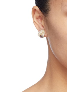 Anabela Chan 'Leaf' diamond ruby stud earrings