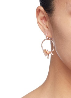 Anabela Chan 'Rose Orchard' diamond gemstone hoop earrings