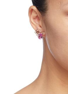 Anabela Chan 'Palm' diamond gemstone stud earrings